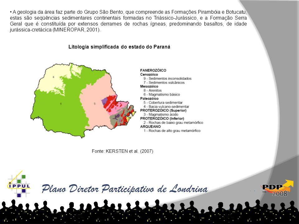 Plano Diretor Participativo de Londrina A geologia da área faz parte do Grupo São Bento, que compreende as Formações Pirambóia e Botucatu, estas são s