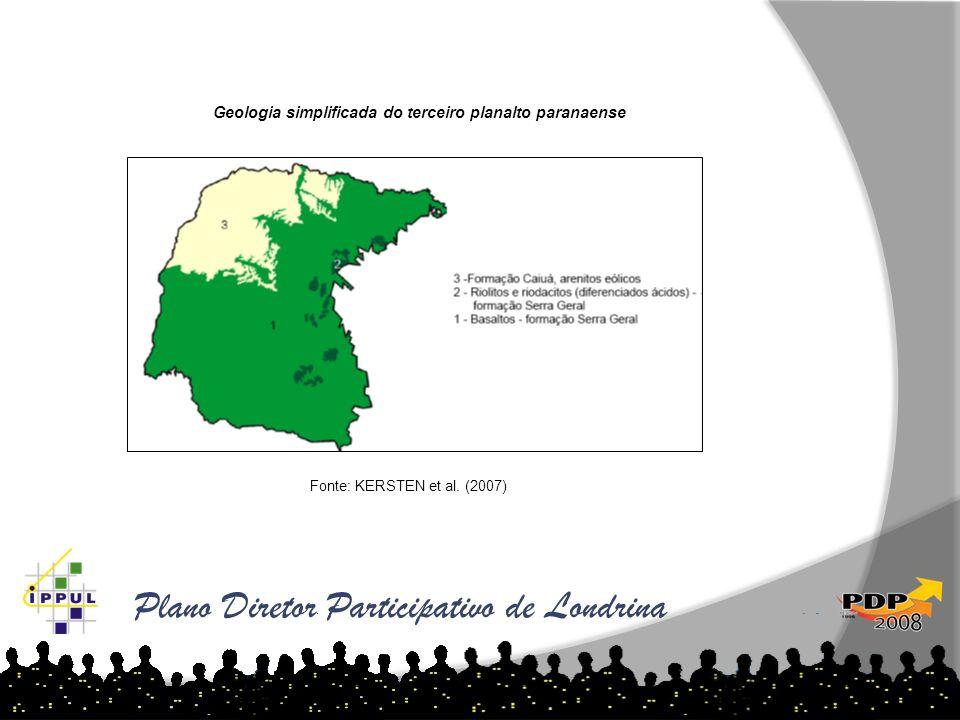 Plano Diretor Participativo de Londrina Geologia simplificada do terceiro planalto paranaense Fonte: KERSTEN et al. (2007)