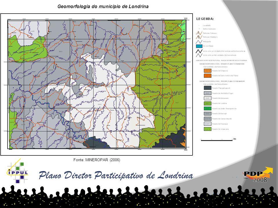 Plano Diretor Participativo de Londrina Fonte: MINEROPAR (2006) Geomorfologia do município de Londrina