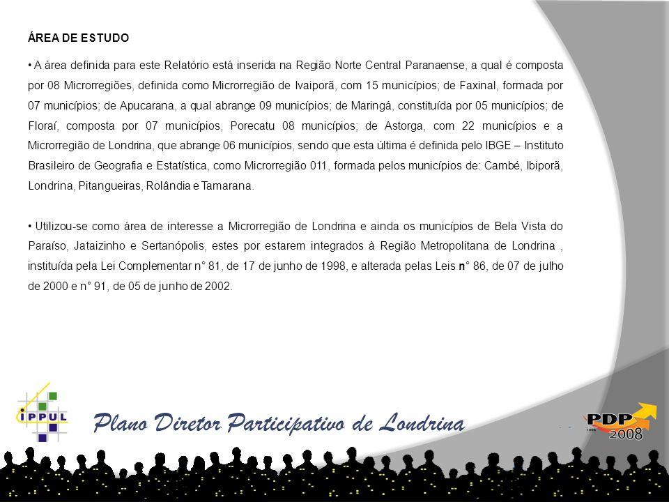 Plano Diretor Participativo de Londrina As tabelas abaixo demonstram o aumento de loteamentos por ano e região: ÁREA DE ESTUDO A área definida para es