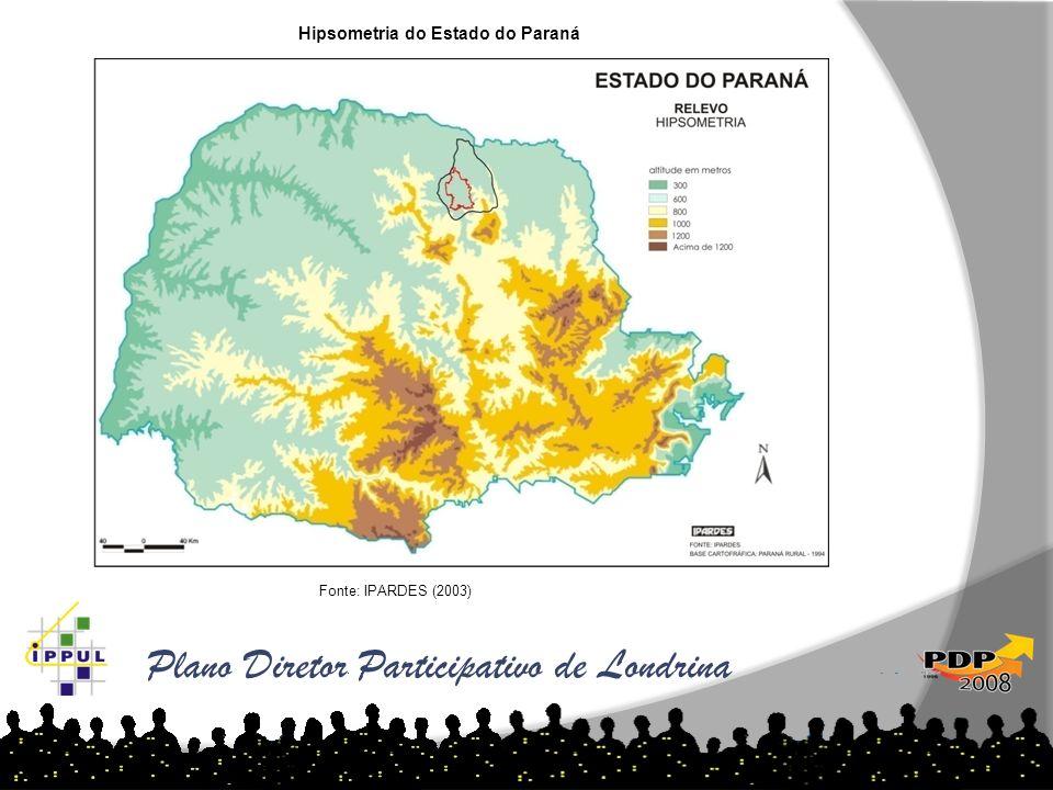 Plano Diretor Participativo de Londrina Hipsometria do Estado do Paraná Fonte: IPARDES (2003)