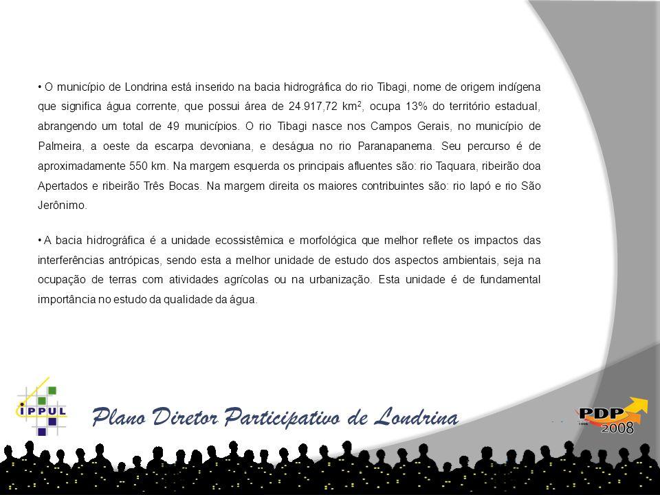 Plano Diretor Participativo de Londrina O município de Londrina está inserido na bacia hidrográfica do rio Tibagi, nome de origem indígena que signifi