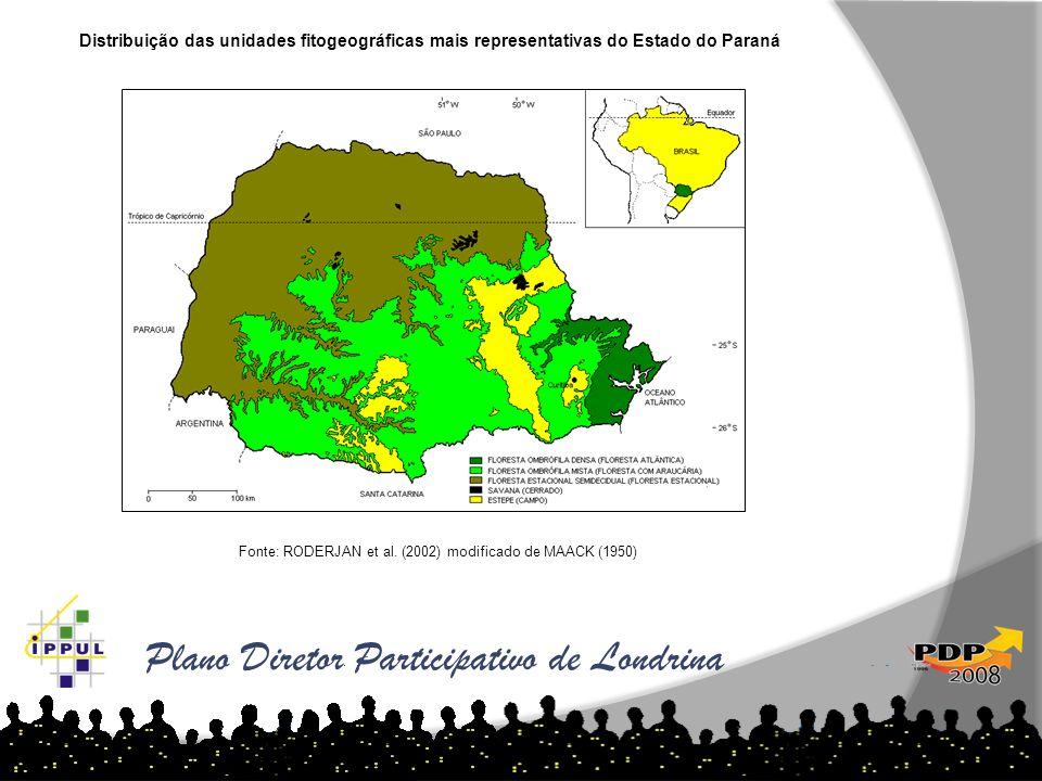 Plano Diretor Participativo de Londrina Distribuição das unidades fitogeográficas mais representativas do Estado do Paraná Fonte: RODERJAN et al. (200