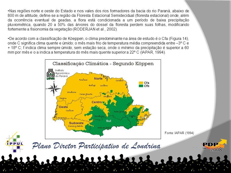 Plano Diretor Participativo de Londrina Nas regiões norte e oeste do Estado e nos vales dos rios formadores da bacia do rio Paraná, abaixo de 800 m de