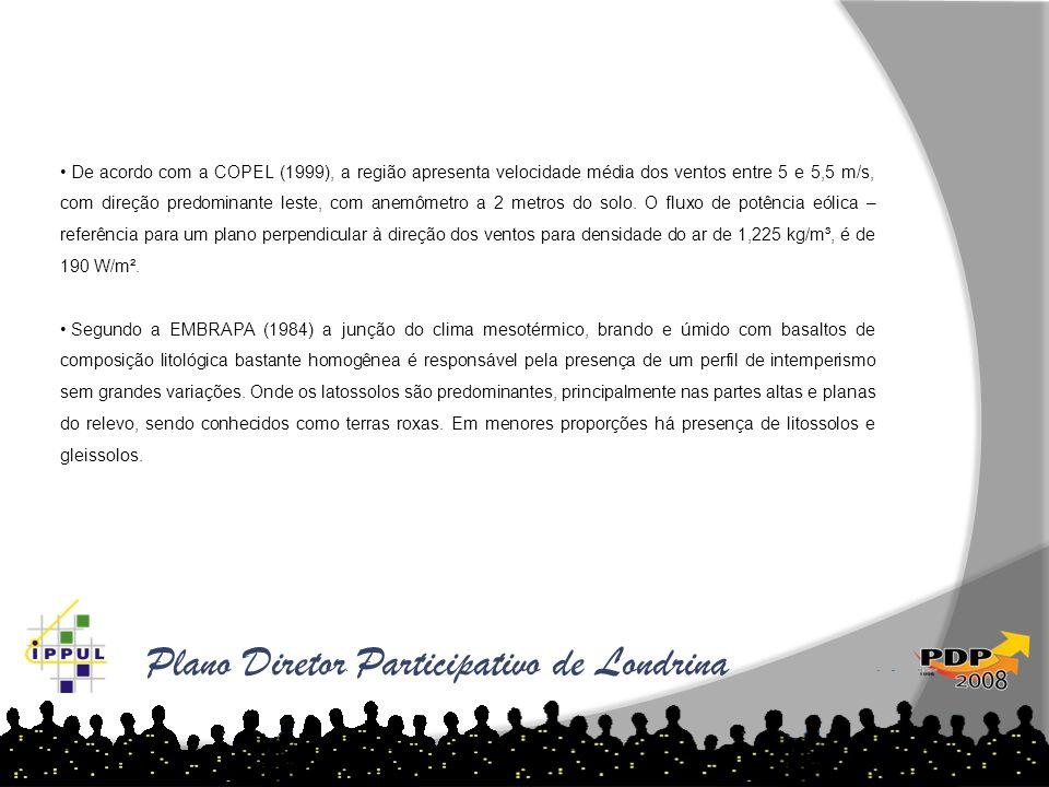 Plano Diretor Participativo de Londrina De acordo com a COPEL (1999), a região apresenta velocidade média dos ventos entre 5 e 5,5 m/s, com direção pr