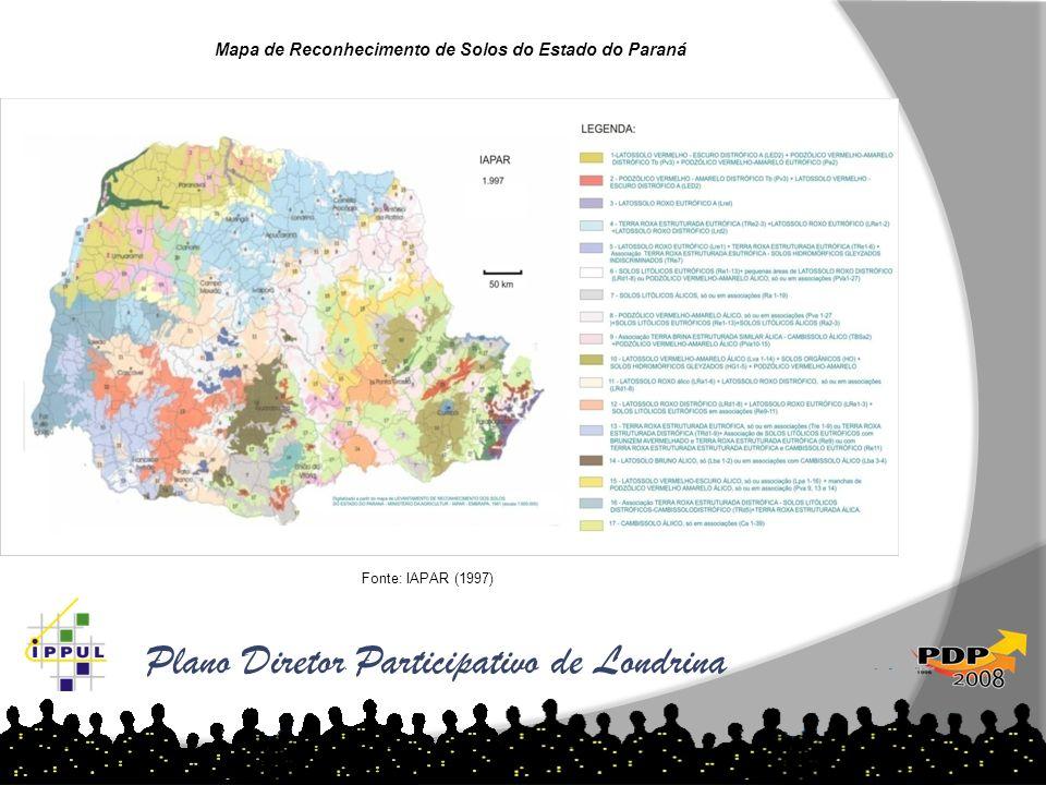 Plano Diretor Participativo de Londrina Mapa de Reconhecimento de Solos do Estado do Paraná Fonte: IAPAR (1997)