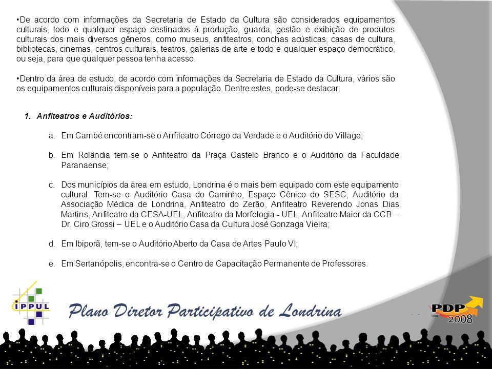 Plano Diretor Participativo de Londrina De acordo com informações da Secretaria de Estado da Cultura são considerados equipamentos culturais, todo e q