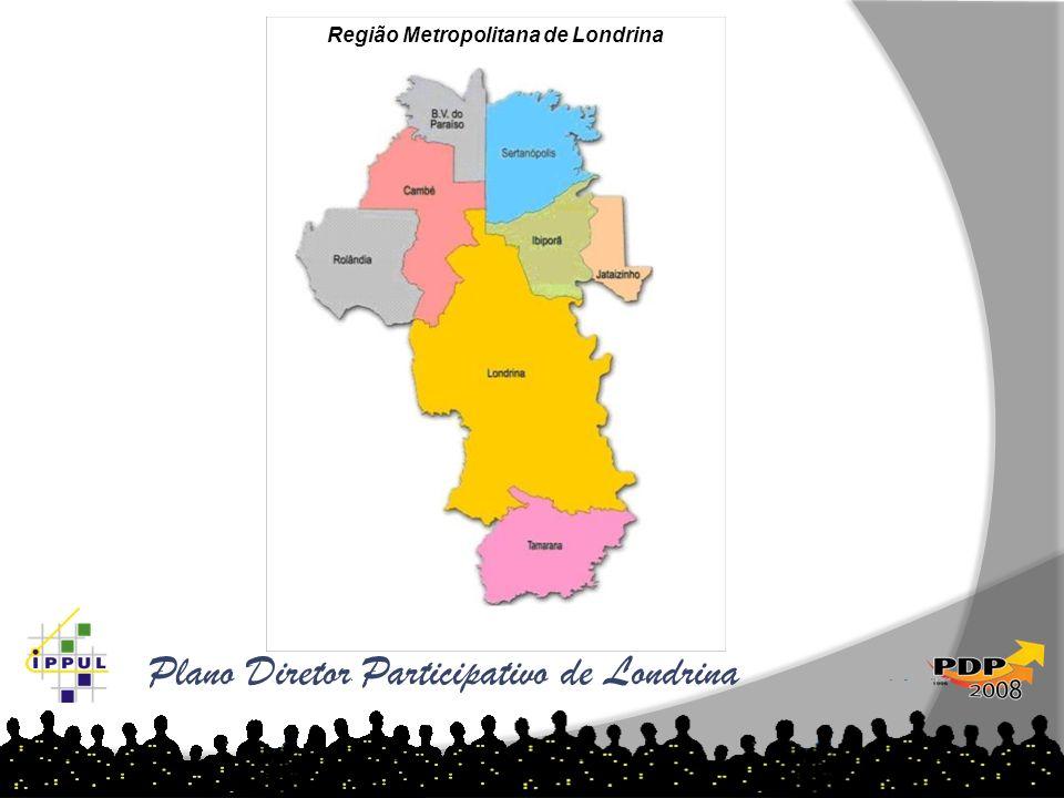 Plano Diretor Participativo de Londrina As tabelas abaixo demonstram o aumento de loteamentos por ano e região: Região Metropolitana de Londrina