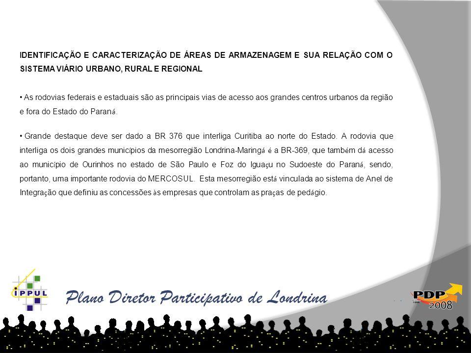 Plano Diretor Participativo de Londrina IDENTIFICAÇÃO E CARACTERIZAÇÃO DE ÁREAS DE ARMAZENAGEM E SUA RELAÇÃO COM O SISTEMA VIÁRIO URBANO, RURAL E REGI