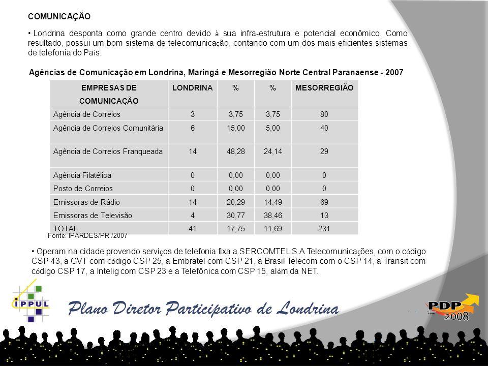 Plano Diretor Participativo de Londrina COMUNICAÇÃO Londrina desponta como grande centro devido à sua infra-estrutura e potencial econômico. Como resu