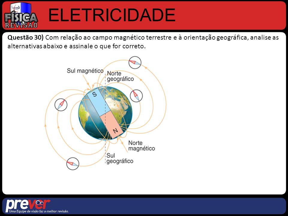 ELETRICIDADE Questão 30) Com relação ao campo magnético terrestre e à orientação geográfica, analise as alternativas abaixo e assinale o que for correto.