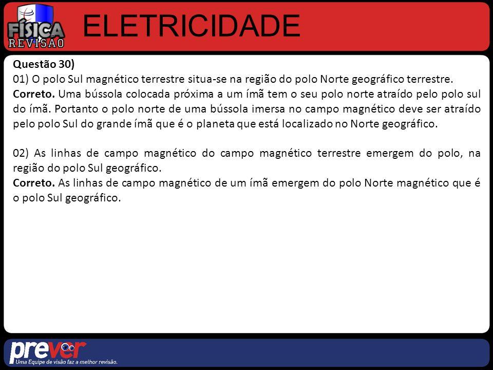 ELETRICIDADE Questão 30) 01) O polo Sul magnético terrestre situa-se na região do polo Norte geográfico terrestre.