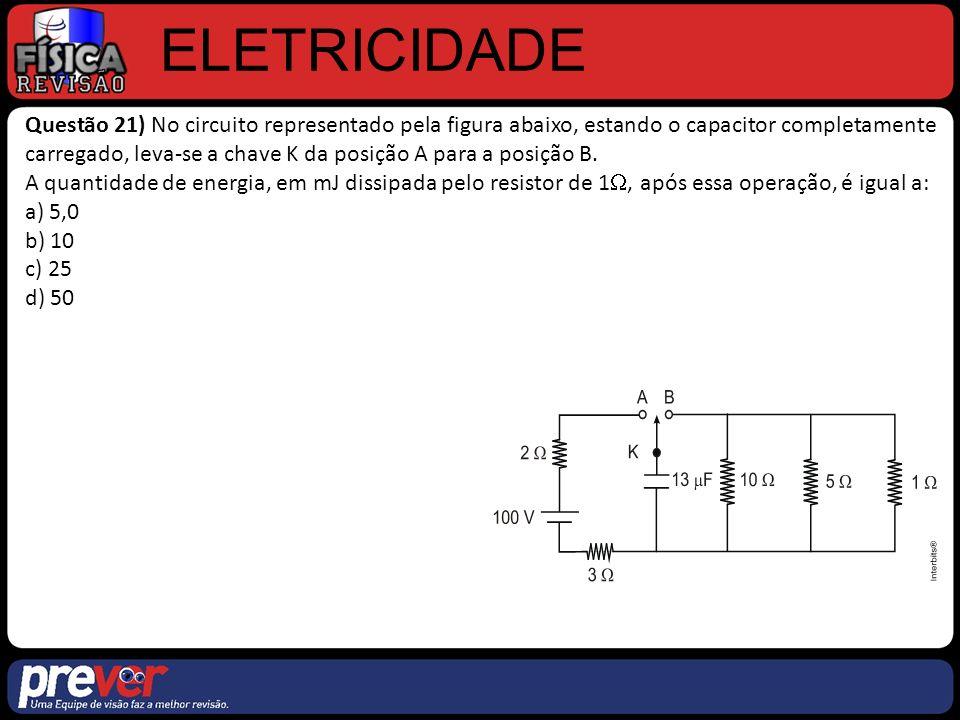 ELETRICIDADE Questão 21) No circuito representado pela figura abaixo, estando o capacitor completamente carregado, leva-se a chave K da posição A para a posição B.
