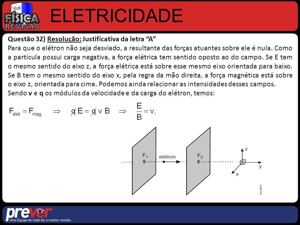 ELETRICIDADE Questão 32) Resolução: Justificativa da letra A Para que o elétron não seja desviado, a resultante das forças atuantes sobre ele é nula.