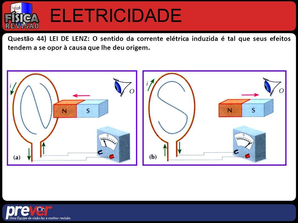 ELETRICIDADE Questão 44) LEI DE LENZ: O sentido da corrente elétrica induzida é tal que seus efeitos tendem a se opor à causa que lhe deu origem.