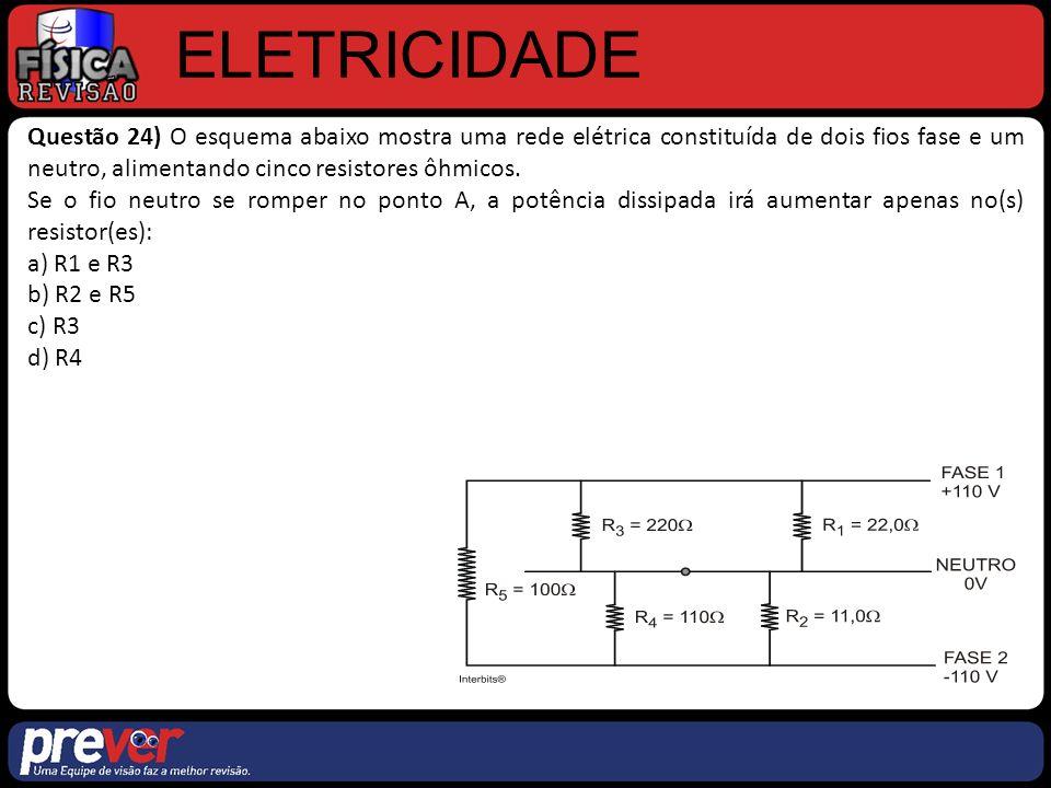 ELETRICIDADE Questão 24) O esquema abaixo mostra uma rede elétrica constituída de dois fios fase e um neutro, alimentando cinco resistores ôhmicos.