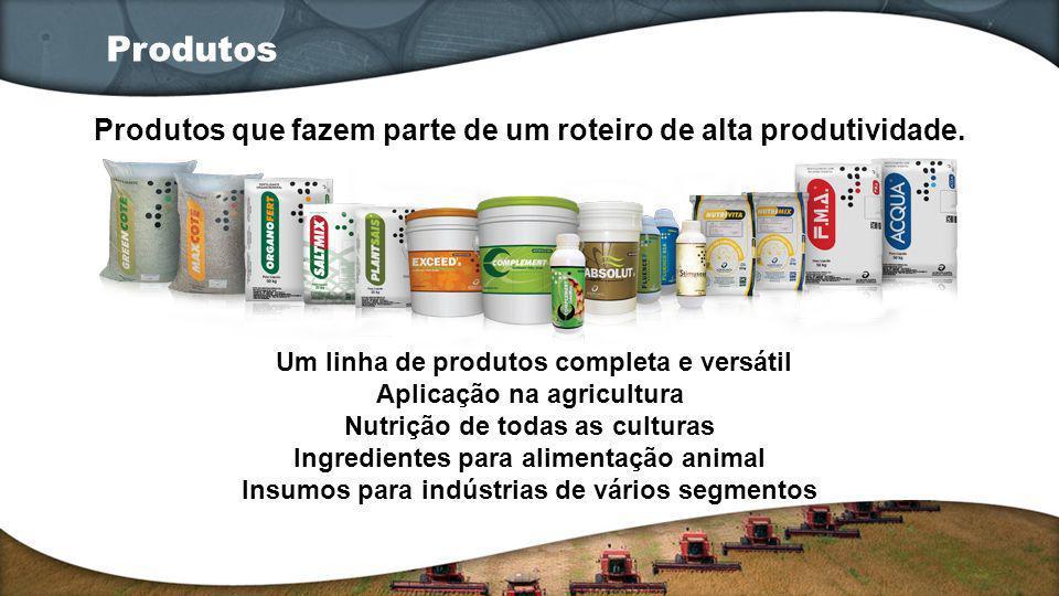 Um linha de produtos completa e versátil Aplicação na agricultura Nutrição de todas as culturas Ingredientes para alimentação animal Insumos para indú