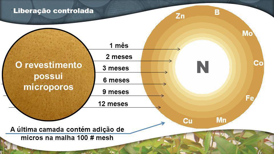 Liberação controlada 1 mês 2 meses 3 meses 6 meses 9 meses 12 meses O revestimento possui microporos A última camada contém adição de micros na malha