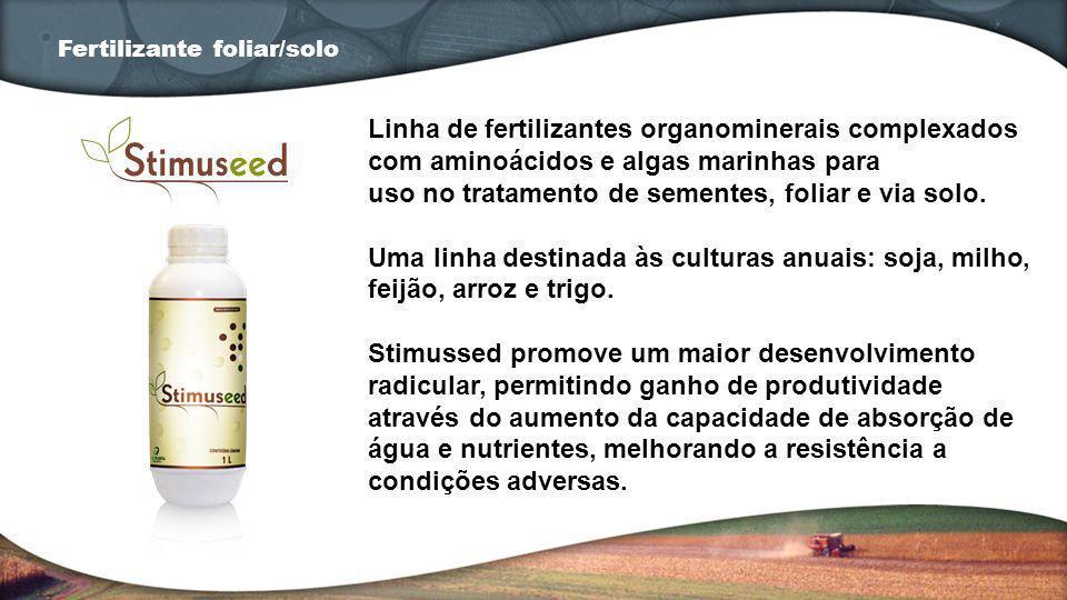 Linha de fertilizantes organominerais complexados com aminoácidos e algas marinhas para uso no tratamento de sementes, foliar e via solo. Uma linha de