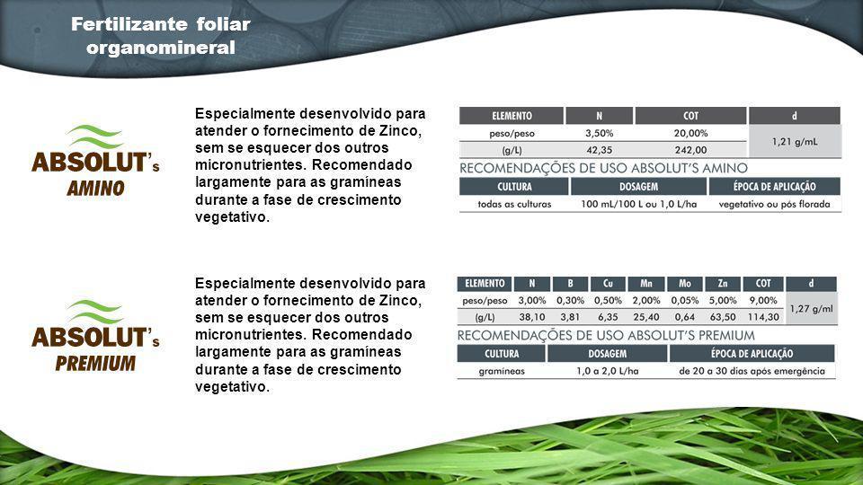 Especialmente desenvolvido para atender o fornecimento de Zinco, sem se esquecer dos outros micronutrientes. Recomendado largamente para as gramíneas