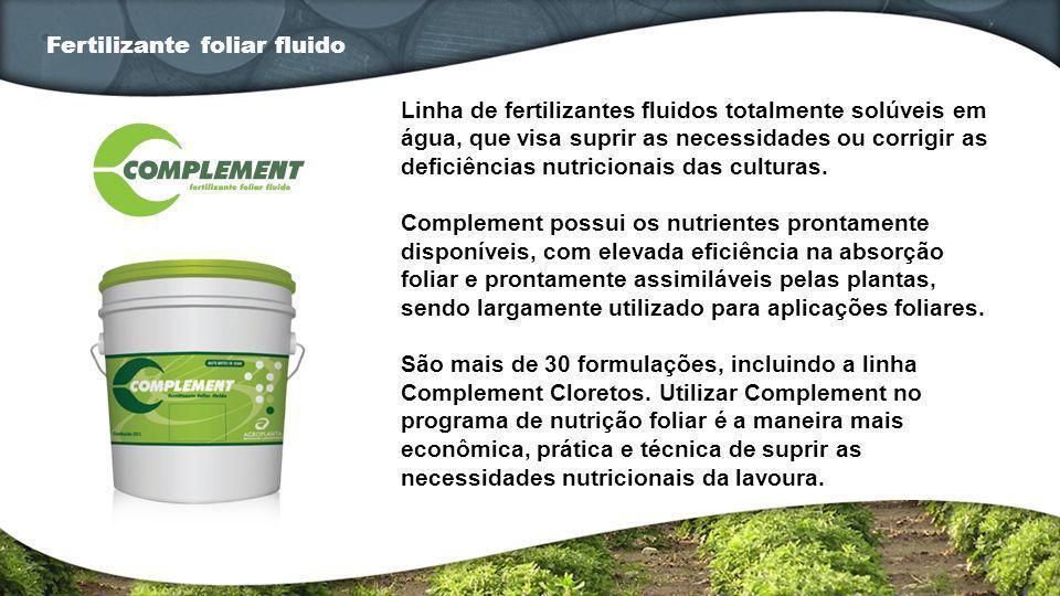 Linha de fertilizantes fluidos totalmente solúveis em água, que visa suprir as necessidades ou corrigir as deficiências nutricionais das culturas. Com