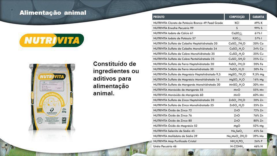 Constituído de ingredientes ou aditivos para alimentação animal. Alimentação animal