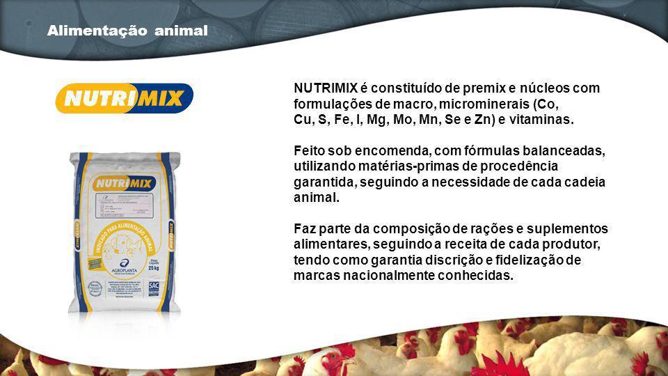 NUTRIMIX é constituído de premix e núcleos com formulações de macro, microminerais (Co, Cu, S, Fe, I, Mg, Mo, Mn, Se e Zn) e vitaminas. Feito sob enco