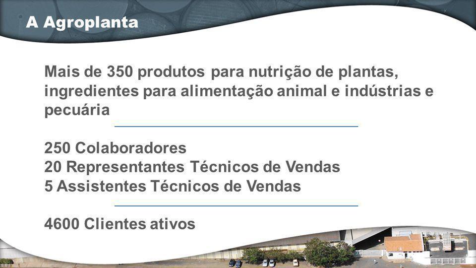 Mais de 350 produtos para nutrição de plantas, ingredientes para alimentação animal e indústrias e pecuária 250 Colaboradores 20 Representantes Técnic