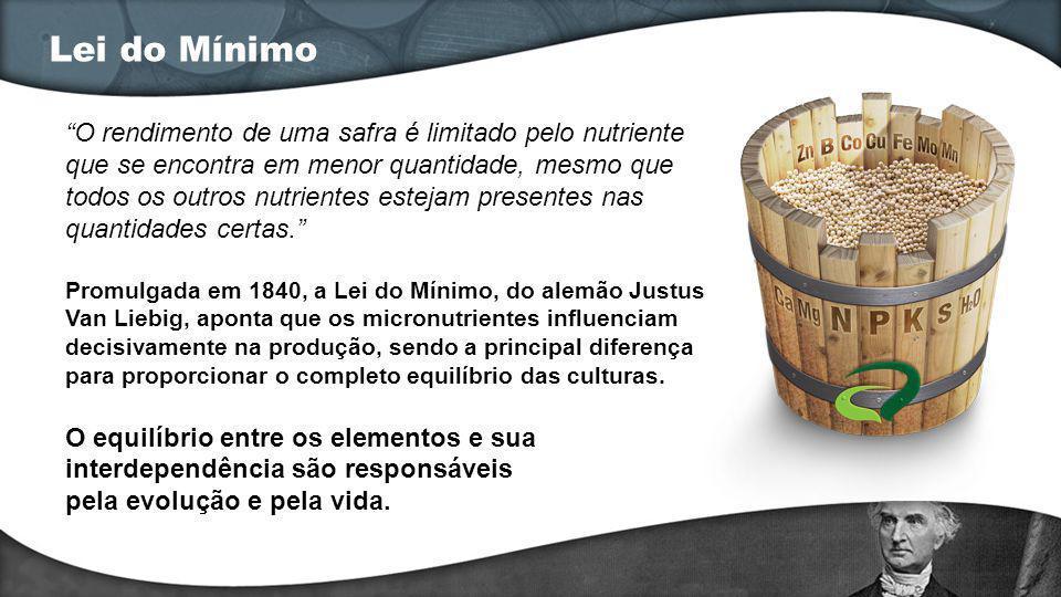 Lei do Mínimo O rendimento de uma safra é limitado pelo nutriente que se encontra em menor quantidade, mesmo que todos os outros nutrientes estejam pr