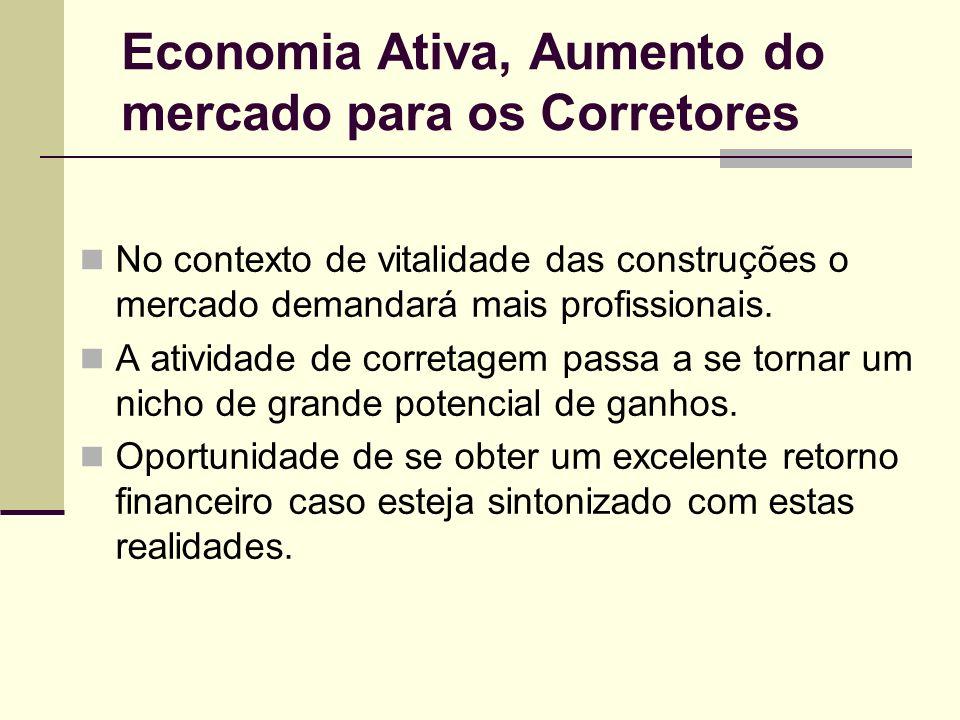Economia Ativa, Aumento do mercado para os Corretores No contexto de vitalidade das construções o mercado demandará mais profissionais. A atividade de
