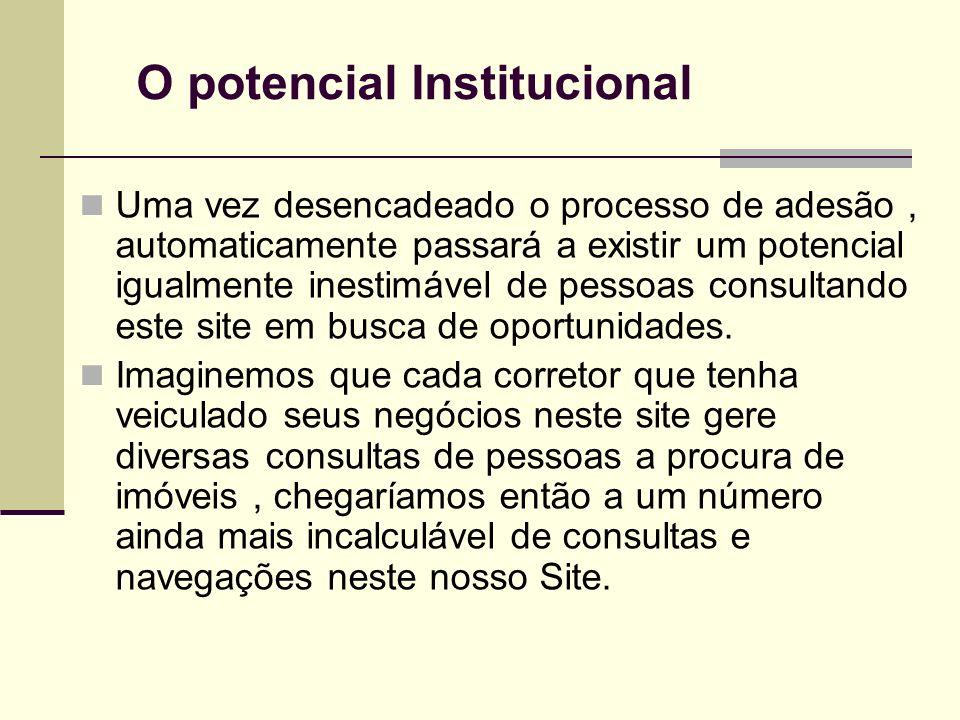 O potencial Institucional Uma vez desencadeado o processo de adesão, automaticamente passará a existir um potencial igualmente inestimável de pessoas
