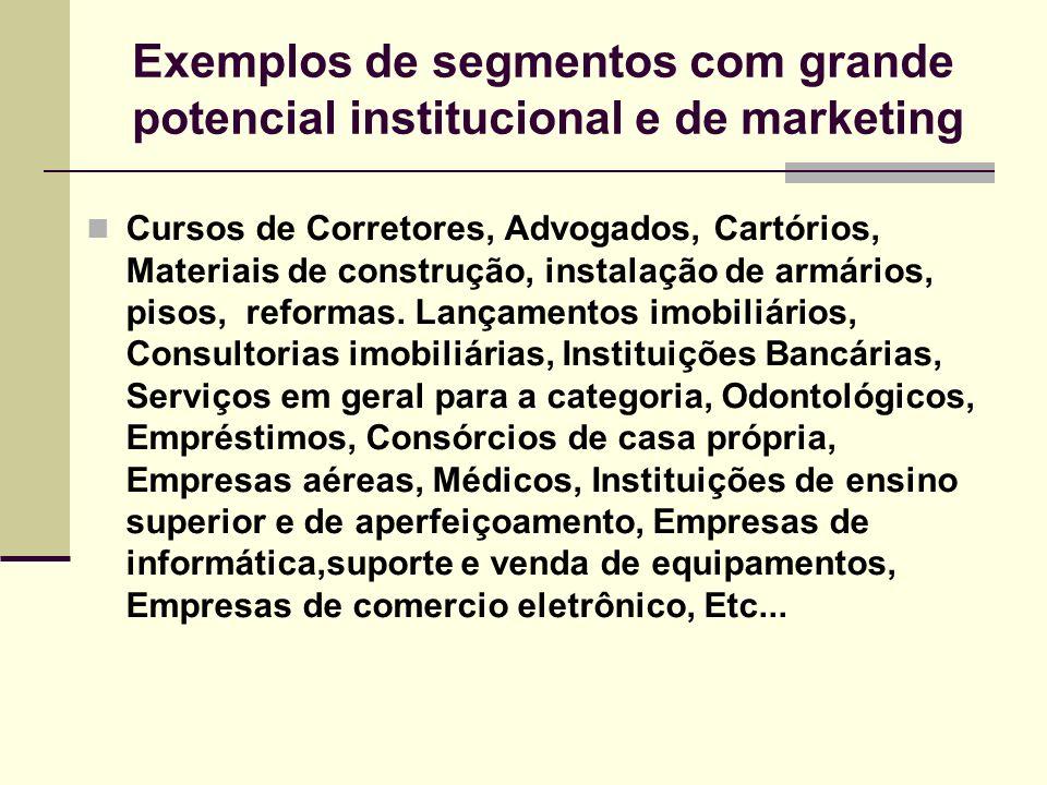 Exemplos de segmentos com grande potencial institucional e de marketing Cursos de Corretores, Advogados, Cartórios, Materiais de construção, instalaçã