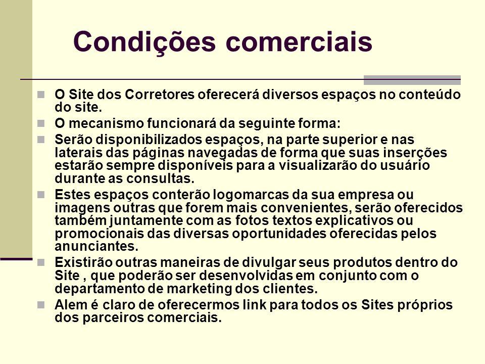 Condições comerciais O Site dos Corretores oferecerá diversos espaços no conteúdo do site. O mecanismo funcionará da seguinte forma: Serão disponibili