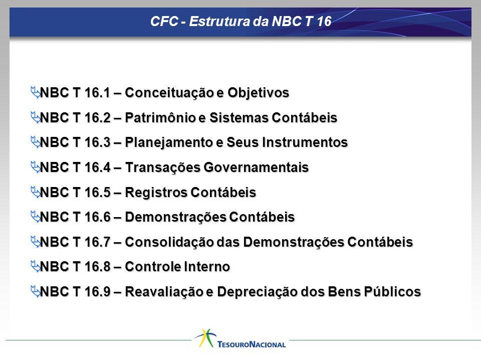 CFC - Estrutura da NBC T 16 NBC T 16.1 – Conceituação e Objetivos NBC T 16.1 – Conceituação e Objetivos NBC T 16.2 – Patrimônio e Sistemas Contábeis NBC T 16.2 – Patrimônio e Sistemas Contábeis NBC T 16.3 – Planejamento e Seus Instrumentos NBC T 16.3 – Planejamento e Seus Instrumentos NBC T 16.4 – Transações Governamentais NBC T 16.4 – Transações Governamentais NBC T 16.5 – Registros Contábeis NBC T 16.5 – Registros Contábeis NBC T 16.6 – Demonstrações Contábeis NBC T 16.6 – Demonstrações Contábeis NBC T 16.7 – Consolidação das Demonstrações Contábeis NBC T 16.7 – Consolidação das Demonstrações Contábeis NBC T 16.8 – Controle Interno NBC T 16.8 – Controle Interno NBC T 16.9 – Reavaliação e Depreciação dos Bens Públicos NBC T 16.9 – Reavaliação e Depreciação dos Bens Públicos
