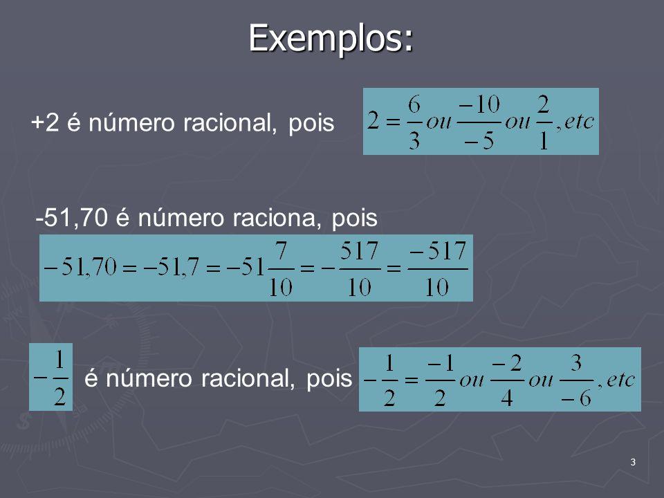 3 Exemplos: +2 é número racional, pois -51,70 é número raciona, pois é número racional, pois