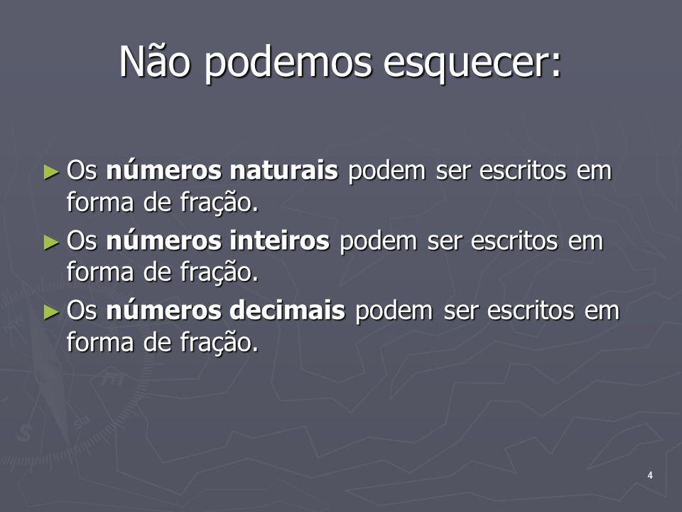 4 Não podemos esquecer: Os números naturais podem ser escritos em forma de fração. Os números naturais podem ser escritos em forma de fração. Os númer