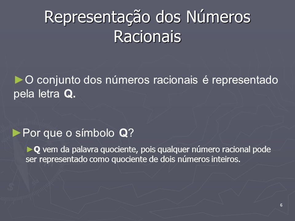 6 Representação dos Números Racionais O conjunto dos números racionais é representado pela letra Q. Por que o símbolo Q? Q vem da palavra quociente, p