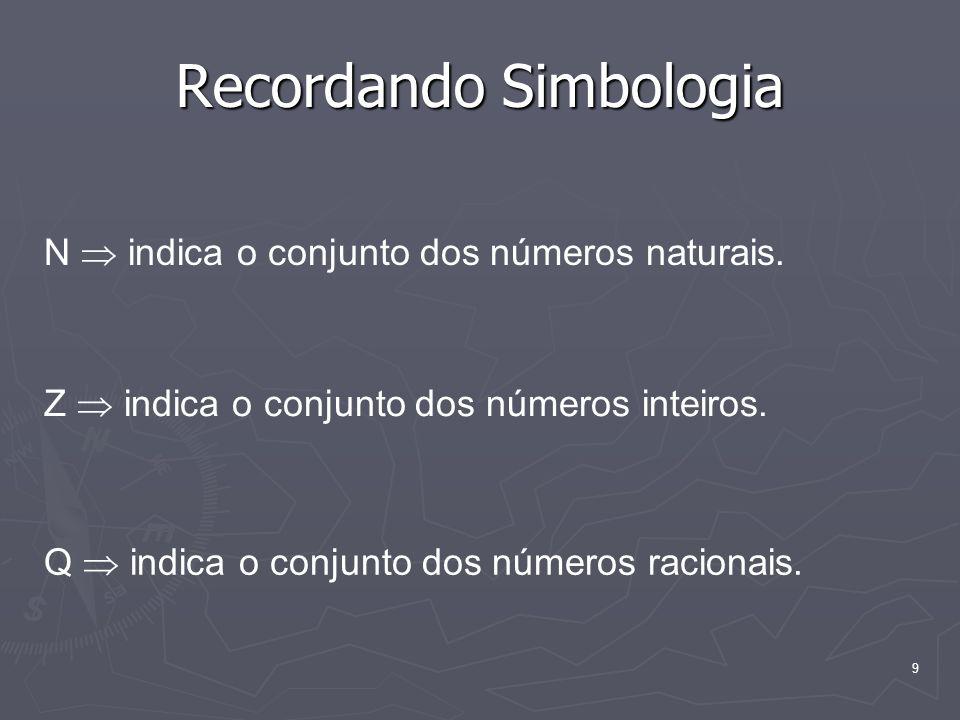 9 Recordando Simbologia N indica o conjunto dos números naturais. Z indica o conjunto dos números inteiros. Q indica o conjunto dos números racionais.