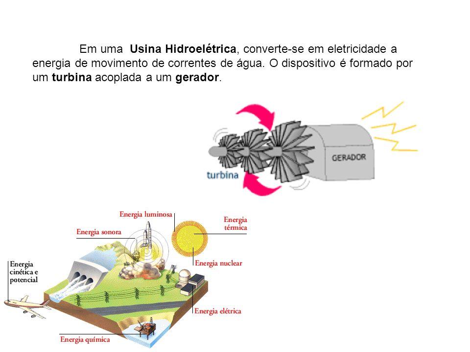 Em uma Usina Hidroelétrica, converte-se em eletricidade a energia de movimento de correntes de água. O dispositivo é formado por um turbina acoplada a