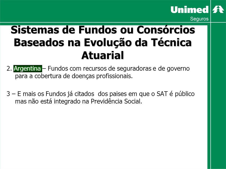 2. Argentina – Fundos com recursos de seguradoras e de governo para a cobertura de doenças profissionais. 3 – E mais os Fundos já citados dos paises e
