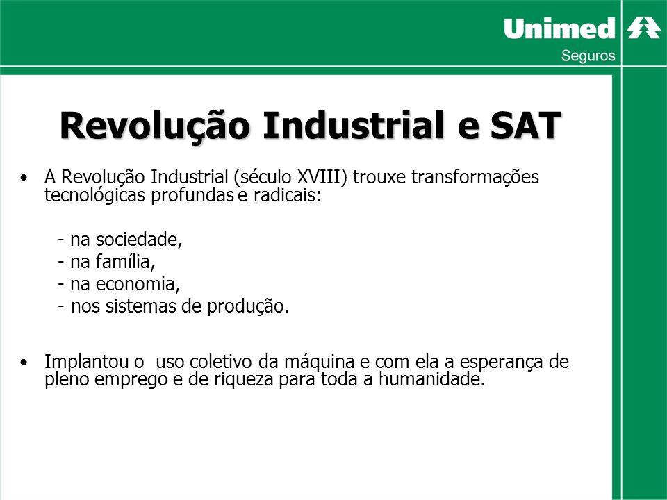 Revolução Industrial e SAT A Revolução Industrial (século XVIII) trouxe transformações tecnológicas profundas e radicais: - na sociedade, - na família, - na economia, - nos sistemas de produção.