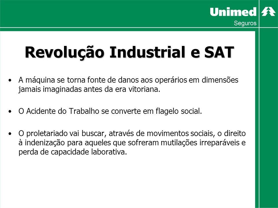 Revolução Industrial e SAT A máquina se torna fonte de danos aos operários em dimensões jamais imaginadas antes da era vitoriana.