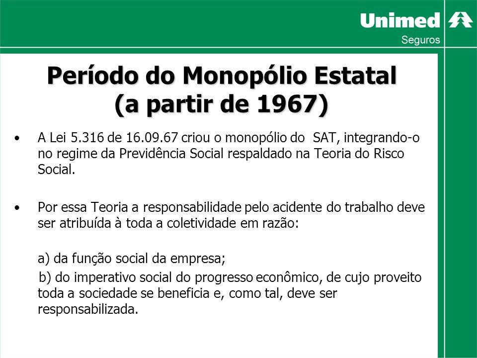 Período do Monopólio Estatal (a partir de 1967) A Lei 5.316 de 16.09.67 criou o monopólio do SAT, integrando-o no regime da Previdência Social respaldado na Teoria do Risco Social.