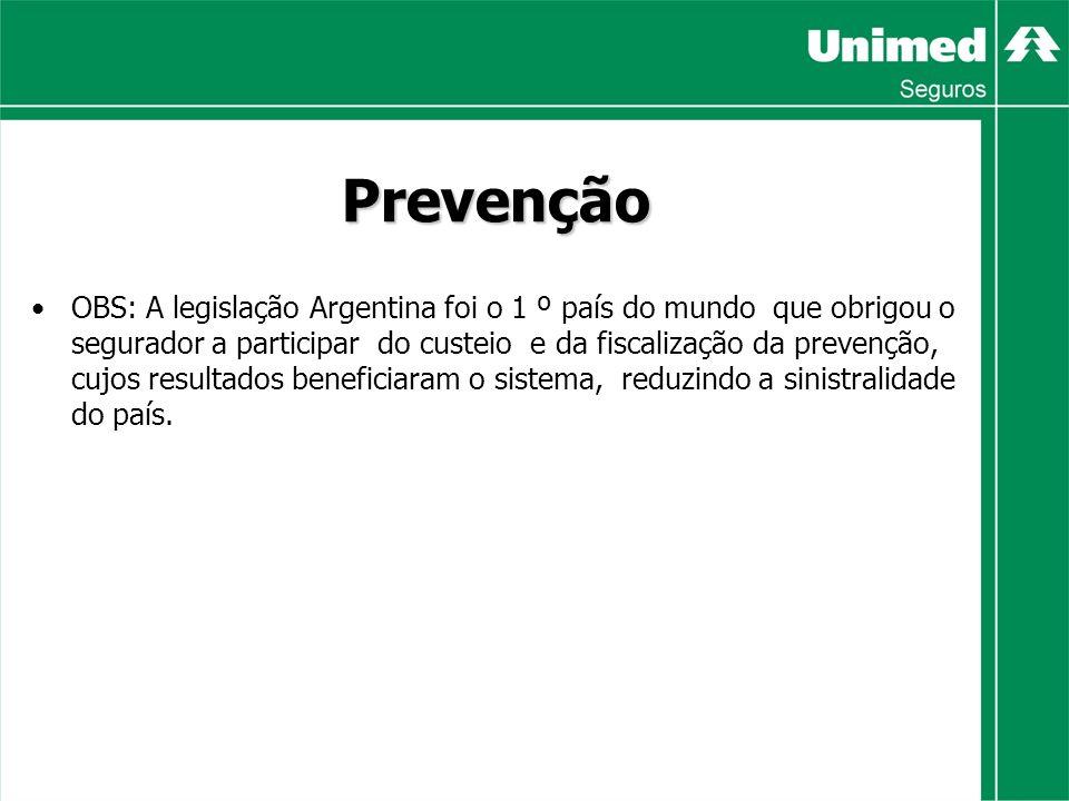 Prevenção OBS: A legislação Argentina foi o 1 º país do mundo que obrigou o segurador a participar do custeio e da fiscalização da prevenção, cujos resultados beneficiaram o sistema, reduzindo a sinistralidade do país.