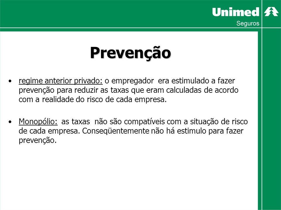 Prevenção regime anterior privado: o empregador era estimulado a fazer prevenção para reduzir as taxas que eram calculadas de acordo com a realidade do risco de cada empresa.