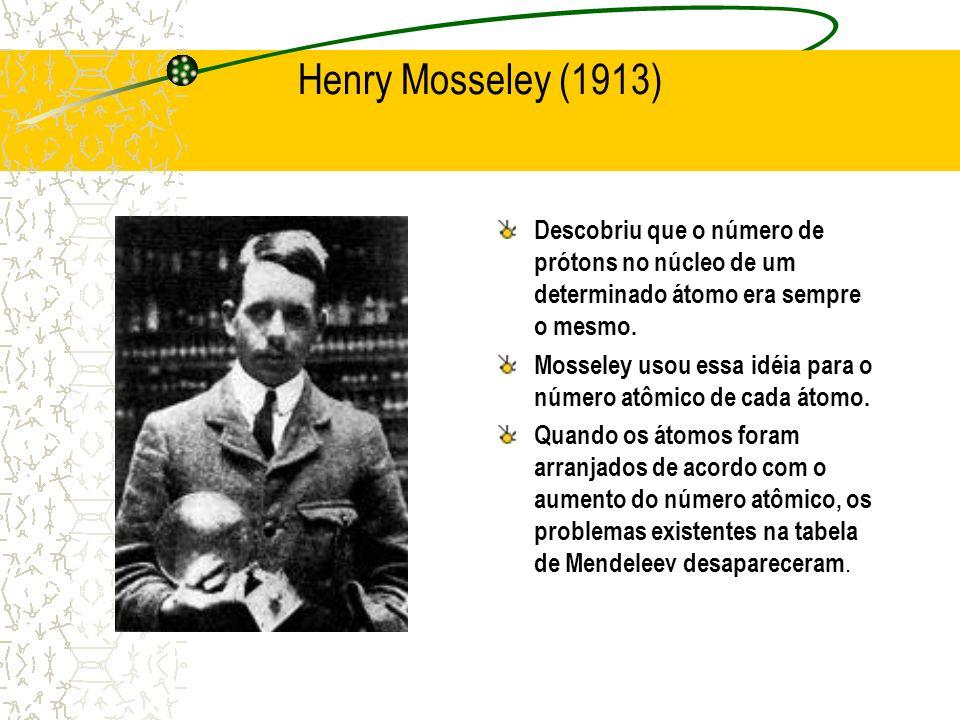 Henry Mosseley (1913) Descobriu que o número de prótons no núcleo de um determinado átomo era sempre o mesmo. Mosseley usou essa idéia para o número a