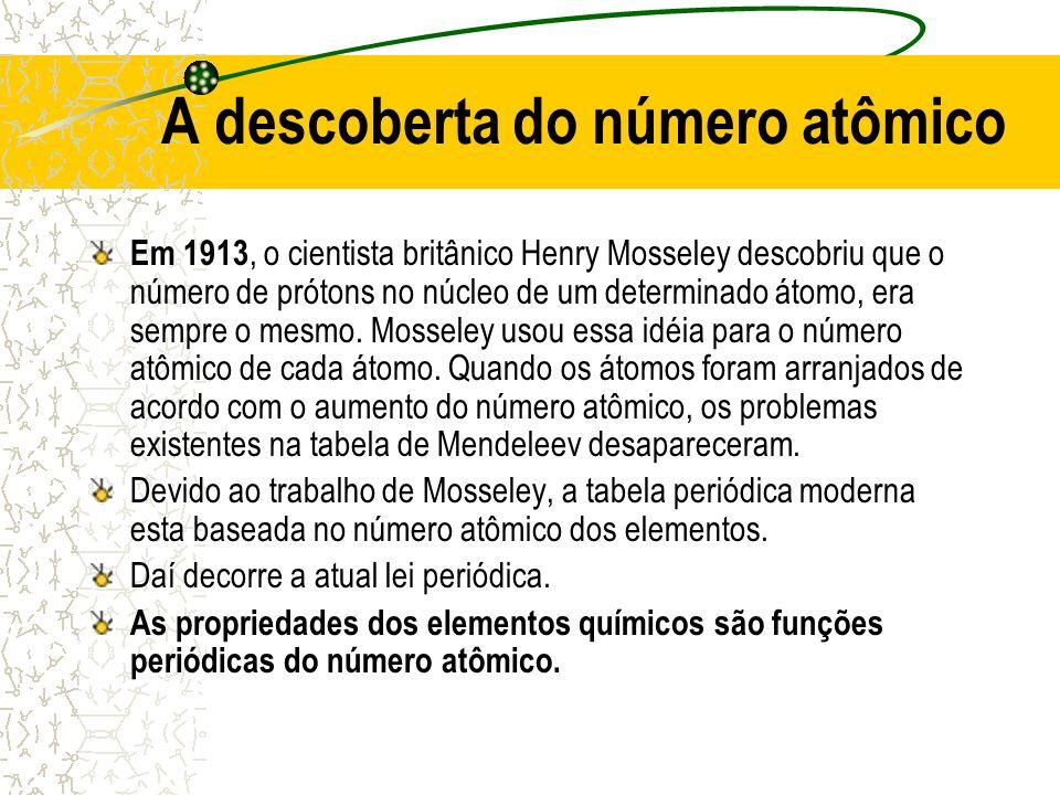 A descoberta do número atômico Em 1913, o cientista britânico Henry Mosseley descobriu que o número de prótons no núcleo de um determinado átomo, era