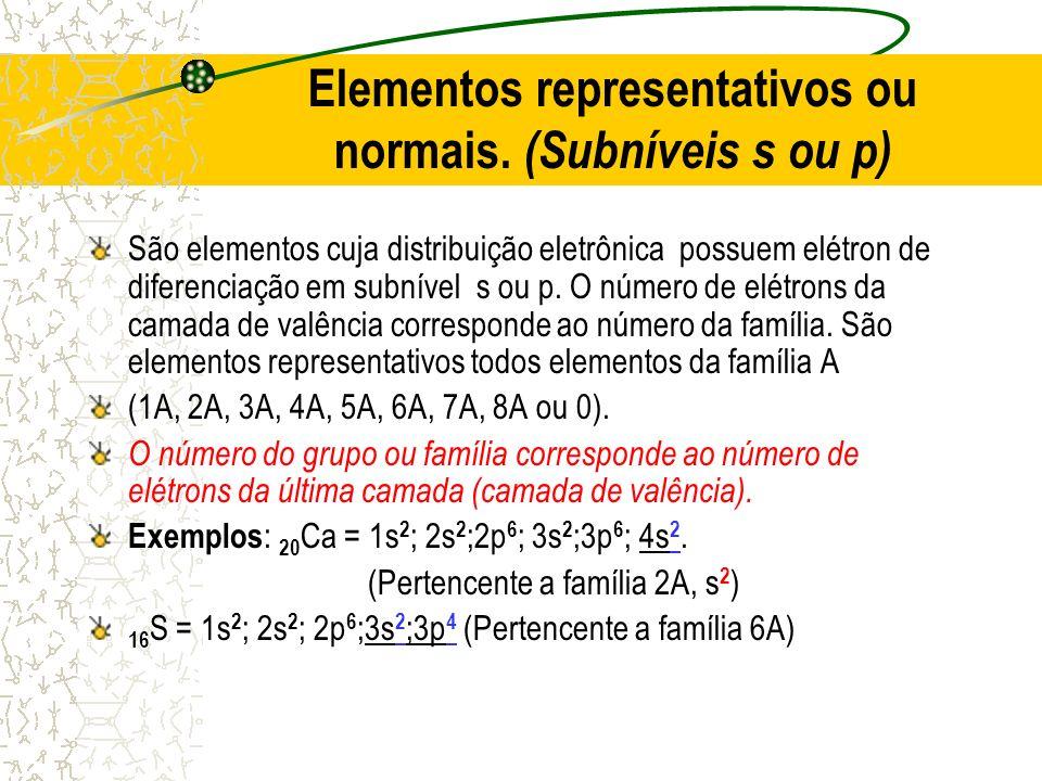 Elementos representativos ou normais. (Subníveis s ou p) São elementos cuja distribuição eletrônica possuem elétron de diferenciação em subnível s ou