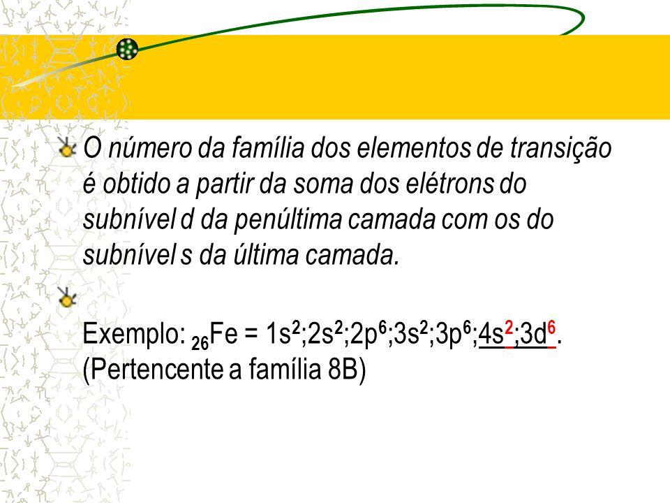 O número da família dos elementos de transição é obtido a partir da soma dos elétrons do subnível d da penúltima camada com os do subnível s da última