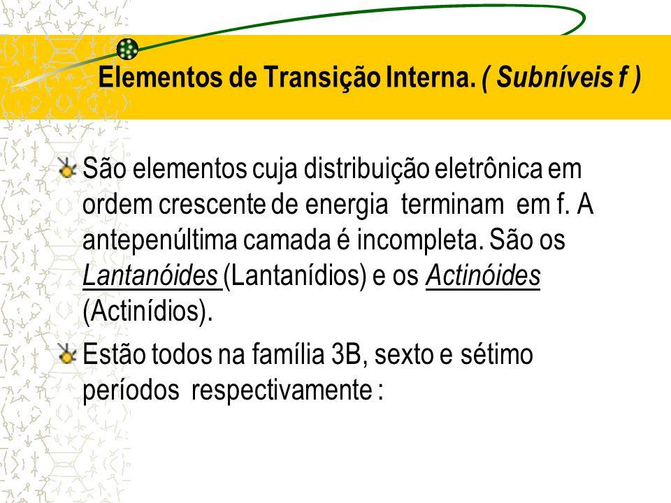 Elementos de Transição Interna. ( Subníveis f ) São elementos cuja distribuição eletrônica em ordem crescente de energia terminam em f. A antepenúltim